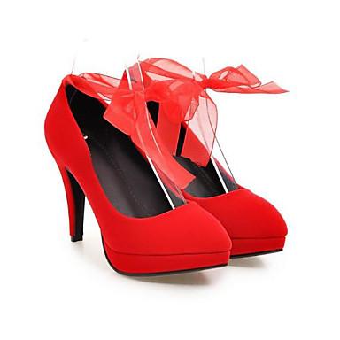 Femme Aiguille Chaussures à Confort Chaussures Printemps Talons Cuir pointu Rouge Bout Automne Nappa 06776185 Noeud Talon Noir qBqrYwv
