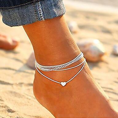 voordelige Dames Sieraden-Dames Enkelband voeten sieraden Meerlaags stapelbaar Hart Dames Koreaans Modieus Enkelring Sieraden Zilver Voor Dagelijks Uitgaan
