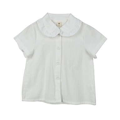 ac256065cd2 Kids Girls  Active   Basic Solid Colored Short Sleeve Cotton Shirt White