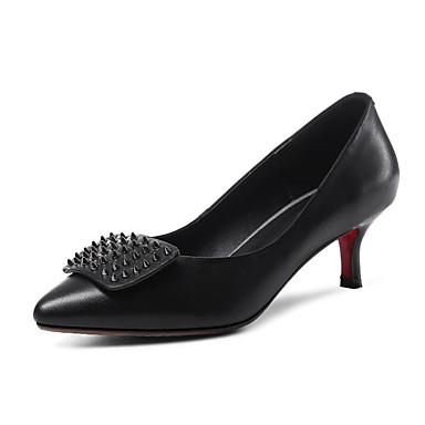 06817180 Heel Escarpin Nappa Femme Rouge Chaussures Chaussures Argent Kitten à Automne Basique Cuir Talons Confort Polyuréthane Noir Printemps qpOT1w