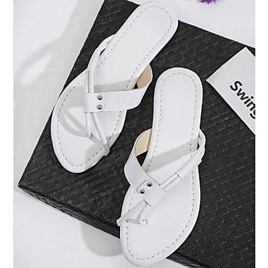 Tongs Cuir Talon Blanc amp; Plat Eté 06795307 Chaussons Femme Noir Confort Chaussures Nappa faT5Tq