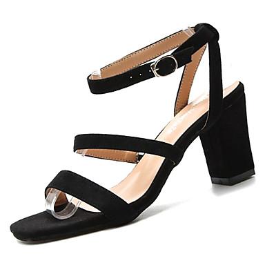 Žene Cipele PU Ljeto Remen oko gležnja Sandale Kockasta potpetica Crn / Badem