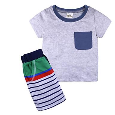 885bf08db مجموعة ملابس كم قصير لون سادة أساسي للصبيان طفل صغير