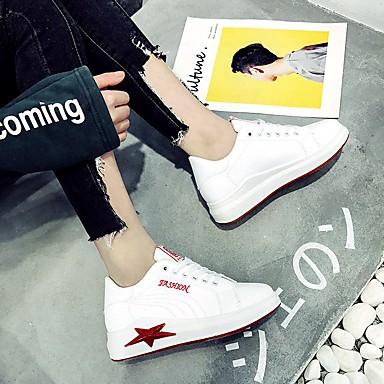 Zapatos Dedo redondo Cuero Sintético 06783399 Primavera Negro Mujer Rojo deporte de Zapatillas Plano Confort Tacón fRaqpd