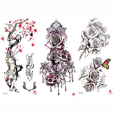 331639e05 3 pcs προσωρινή Τατουάζ Σειρά Λουλουδιών / Ρομαντική σειρά Αυτοκόλλητο με  ομαλή επιφάνεια / Ασφάλεια Τέχνες σώμα μπράτσο / ώμος / Προσωρινά τατουάζ  στυλ ...