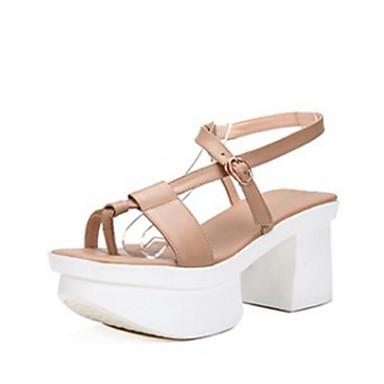 Žene Cipele Mekana koža Ljeto Udobne cipele Sandale Creepersice Crn / Badem