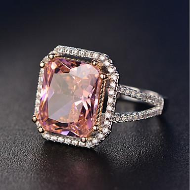 billige Motering-Dame Ring Kubisk Zirkonium liten diamant 1pc Rosa Kobber Platin Belagt Hvitt gull Firkantet damer Romantikk Bryllup Gave Smykker Stable simulert