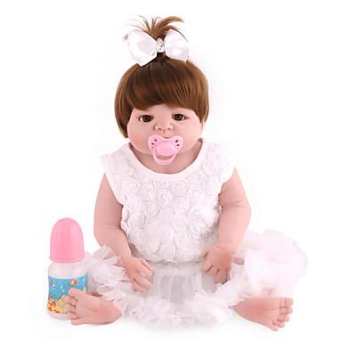 NPK DOLL Lalki Reborn Dziecko 22 in Silikony całego ciała Silikon Winyl - Noworodek Jak żywy Śłodkie Wyrób ręczny Bezpieczne dla dziecka Nietoksyczne Dzieciak Unisex / Dla dziewczynek Zabawki Prezent