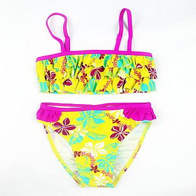 baratos Roupas de Banho para Meninas-Bébé Para Meninas Praia Floral Estampa Colorida Estampado Algodão Roupa de Banho Amarelo