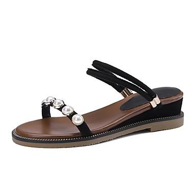 les chaussures en daim printemps et été le talon confort des sandales wedge talon le noir / Vert  / almond b64fbf