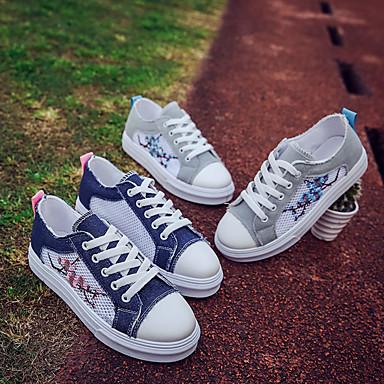 Confort Plano redondo Dedo Verano Azul Zapatillas deporte Tacón PU Mujer Zapatos 06825891 Gris Oscuro de q8wAptvx