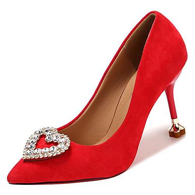 Zapatos Wine Dedo Negro Pump PU Verano Mujer Tacones Básico Tacón Pedrería Rojo Puntiagudo Stiletto 06830344 aURqw4
