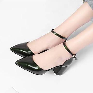Žene Cipele Mekana koža Proljeće Udobne cipele Sandale Kockasta potpetica Bijela / Zelen