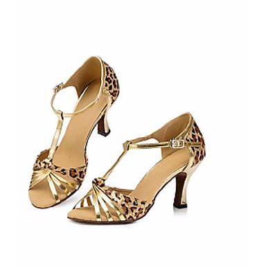 baratos Super Ofertas-Mulheres Sapatos de Dança Lona Sapatos de Dança Latina Salto Salto Grosso Leopardo / Espetáculo / Couro / Ensaio / Prática