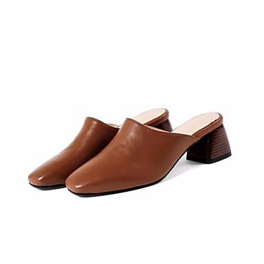 Confort 06831420 Eté Femme Nappa Cuir Sabot Talon amp; Chaussures Noir Beige Mules Bottier Marron OUttIxrq