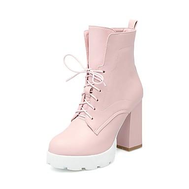 Bottier Polyuréthane Noir Chaussures été Femme Printemps Rose Bottes 06840220 Talon Confort Rouge HRZ0Cq5x
