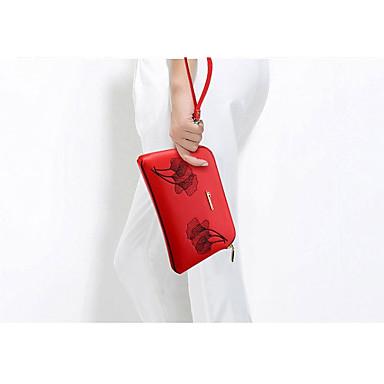 Žene Torbe PU Torba za rame Patent-zatvarač / Reljefni uzorak Crn / Red / Crvena