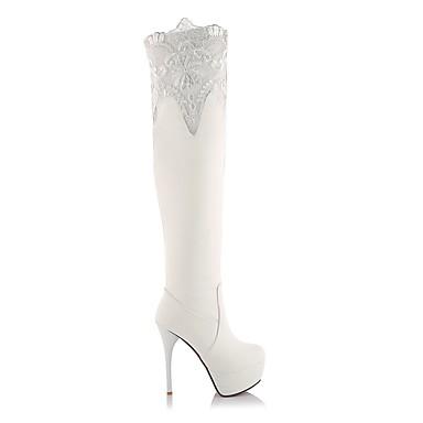Talon Bottes rond 06839639 la Polyuréthane Aiguille Bottes Mode Blanc Bout Noir Automne Chaussures Cuissarde à hiver Femme 7wzxqp1Ian