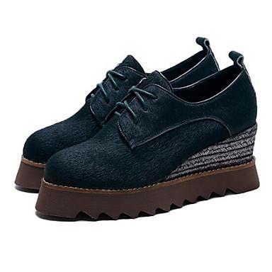 Chaussures Femme Bout Véronèse Hauteur Eté de de compensée rond Printemps Vert Noir Cheval 06795370 semelle Oxfords Confort Crin 1qrqwCd