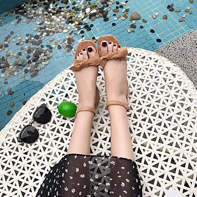 Piezas PU cuadrada Beige Mujer D'Orsay Zapatos Dos Negro Dedo Tacón Bajo Pajarita Caqui Sandalias y 06791780 Verano Yf1Wqw4