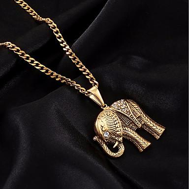 voordelige Heren Ketting-Heren Kubieke Zirkonia Hangertjes ketting Kettingen Cubaanse link Olifant Europees modieus Hip-hop Strass Titanium Staal Roestvrij staal Goud Zilver 60 cm Kettingen Sieraden 1pc Voor Lahja Uitgaan