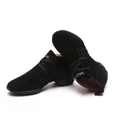 les baskets danse danse chaussures chaussures en daim noir noir noir épais talon rouge fuchsia / f6a556