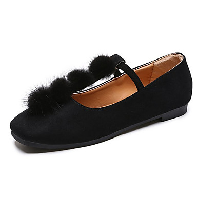 Women's Shoes PU(Polyurethane) Summer Comfort Flats Flat Heel Beige Square Toe Black / Beige Heel 1a2429