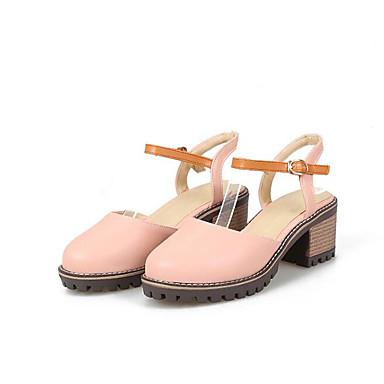 Žene Cipele PU Proljeće Udobne cipele Sandale Kockasta potpetica Crn / Pink / Badem