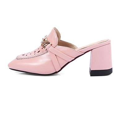 Žene Cipele Mekana koža Ljeto Udobne cipele Klompe i natikače Kockasta potpetica Obala / Pink