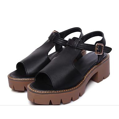 Žene Cipele PU Ljeto Udobne cipele Sandale Kockasta potpetica Obala / Crn / Sive boje