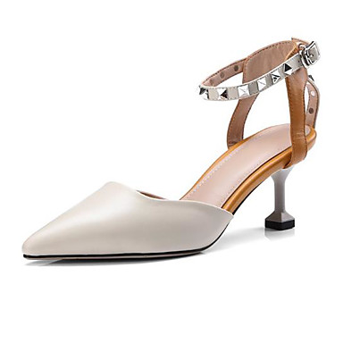 Cuir Chaussures Marron Sandales Confort Femme Bout Rivet 06778323 Boucle Aiguille Nappa pointu été Talon Printemps Beige 65nwdYqRdx