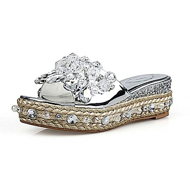 Cuir Nappa Plat été Talon Chaussures 06834917 Argent Confort amp; Femme Chaussons Tongs Printemps RqwAaxZan5