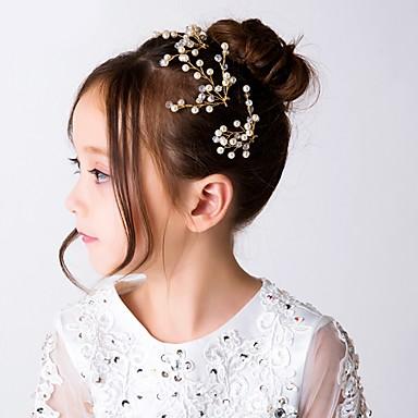 voordelige Dames Sieraden-Dames Eenvoudig Zuigeling Stof Legering Kristal Haarstokjes Haar charmes Feest Ceremonie - Bloemen