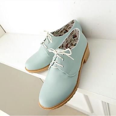 Dedo Confort Primavera PU Rosa bloque Azul Zapatos Oxfords Verano 06791927 de Mujer Beige Talón redondo IwazCqx
