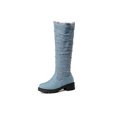 povoljno Ženske cipele-Žene Čizme Kockasta potpetica Okrugli Toe Traper Čizme do koljena Kaubojke Jesen zima Crn / Dark Blue / Svjetloplav