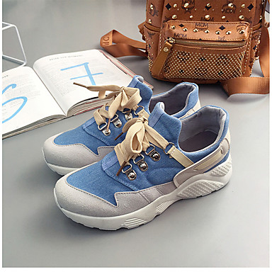 Žene Cipele Platno / Sintetika Proljeće ljeto Udobne cipele Sneakers Ravna potpetica Okrugli Toe Ukrasna trakica Crn / žuta / Svjetloplav