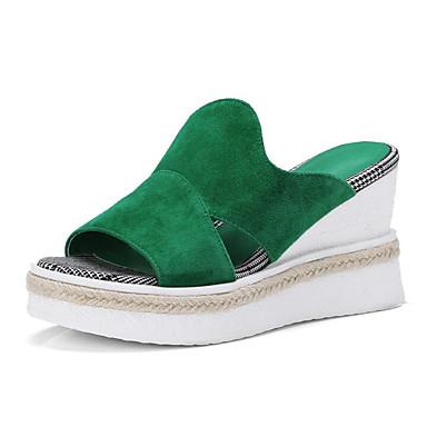 voordelige Damessandalen-Dames Sandalen Sleehak Schapenleer Comfortabel / Basispump Zomer Zwart / Groen