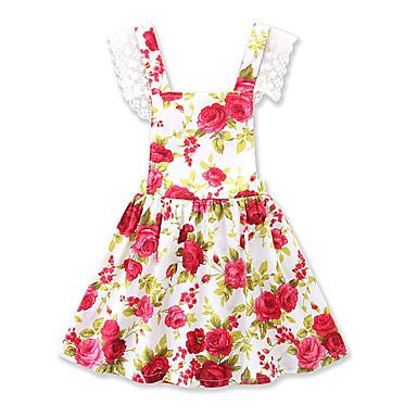 Dijete Djevojčice Vintage / Aktivan Dnevno / Praznik Cvjetni print / Print Print Bez rukávů 50-60 cm Spandex Haljina Red 100 / Dijete koje je tek prohodalo