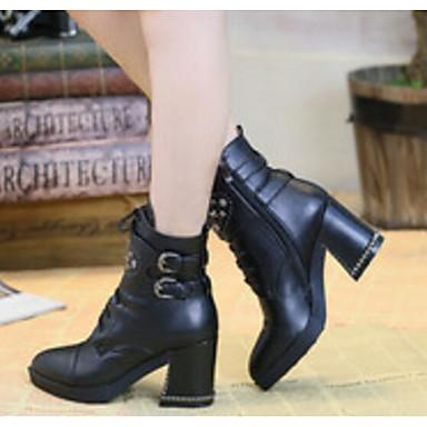 06833038 Foncé Cuir hiver de Brun Automne Bottes Nappa Bottier Femme Noir Chaussures Talon boîtes Confort Combat 4qA6AZSw