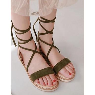 Plano Almendra Confort 06840165 Sandalias Verde Puntera Verano Ejército abierta Rojo Tacón Zapatos Ante Mujer Primavera OUa00n