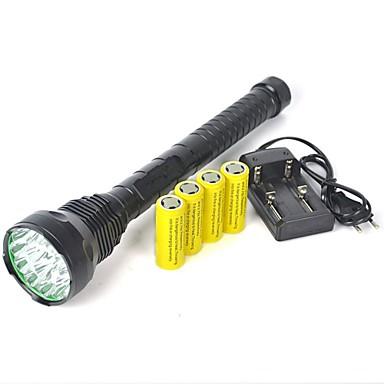 billige Lommelykter & campinglykter-LED Lommelygter Lommelykter LED LED emittere 18000 lm 1 lys tilstand med batterier Profesjonell Camping / Vandring / Grotte Udforskning Dagligdags Brug Politi / Militær