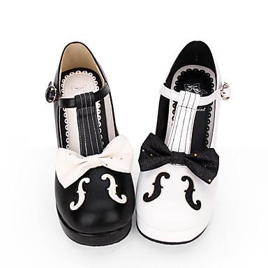 Cipele Gothic Lolita Sweet Lolita Princess Lolita Gotika Stožasta potpetica Cipele Linije / valovi Šivena čipka 6.5 cm CM Obala / Crn Za PU koža Halloween kostime