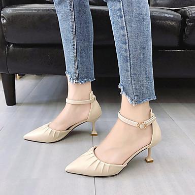 Puntiagudo Negro 06818679 Zapatos Stiletto Tacón Verano PU Amarillo Tacones Pump Básico Beige Mujer Dedo WqgRvxzOn