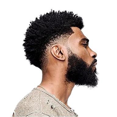 povoljno Perike i ekstenzije-Muškarci Ljudska kosa Tupe Kovrčav 100% rađeno rukom Nježno