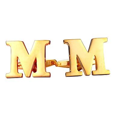 Alfabetico Argento - Dorato Gemelli Rame Lettere Dell'alfabeto Metallico - Da Cerimonia Per Uomo Bigiotteria Per Regalo - Quotidiano #06825006 Bello E Affascinante
