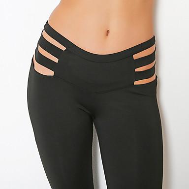 2e455601e9 Mujer Cortado Pantalones de yoga Negro Deportes Color sólido Licra Medias    Mallas Largas Leggings Zumba