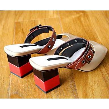 Blanc Nappa Heel Cuir Basique Femme Amande Escarpin 06794789 Chaussures Block Sandales Confort Eté vpEzq4UwE