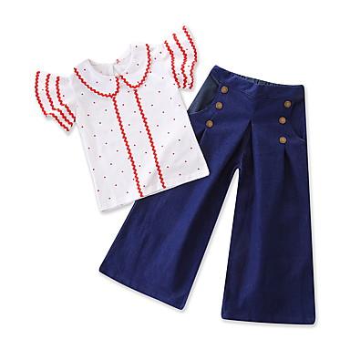 Dijete Djevojčice Jednobojni / Na točkice Kratkih rukava Komplet odjeće