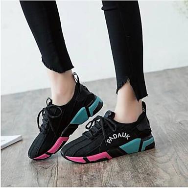 06792328 Chaussures Femme d'Athlétisme Bout Maille Talon fermé Confort Chaussures Eté élastique Tissu Noir Printemps Plat 0g6Z0q