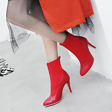Bout Rouge Aiguille Talon Tissu Mi pointu Chaussures élastique Bottes à Amande la amp; Noir Bottes 06836462 hiver Soirée Automne mollet Evénement Mode Bottes Femme Polyuréthane AH7xnHP